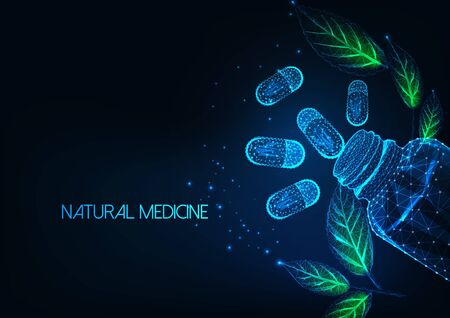 Futuristic natural medicine concept with glow low polygonal capsule pills, bottle and green leaves.