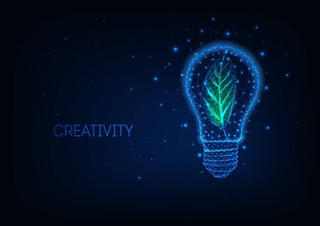 Futuristic sustainable energy concept with glowing low poly green leaf inside of electric light bulb