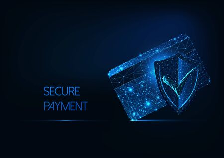 Futuristic secure payment concept with glow low polygonal credit card, protection approval shield.
