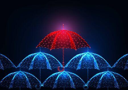 Unicité futuriste, leadership, concept se démarquer avec un parapluie rouge polygonal bas brillant dans une foule de parapluies bleus sur fond bleu foncé. Illustration vectorielle de conception de maille de fil de fer moderne.