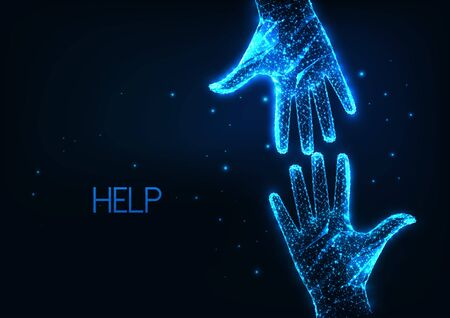 Futuristic help, assistance concept with two glowing low polygonal human hands reaching each other