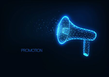 Futuristic announcement, promotion, advertisement concept with glowing low polygonal megaphone