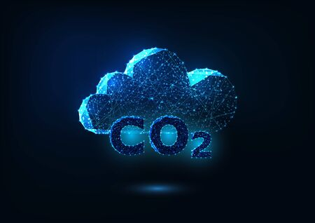 Futuristic exhaust gas emission concept with glowing carbon dioxide formula and abstract cloud Ilustrace
