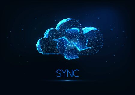 Futuristic cloud synchronization concept with glowing low polygonal cloud with refresh symbol