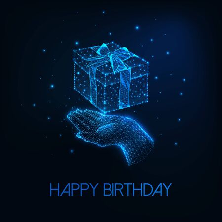 Futuristic happy birthday greeting card with glowing low polygonal human hand holding gift box  イラスト・ベクター素材