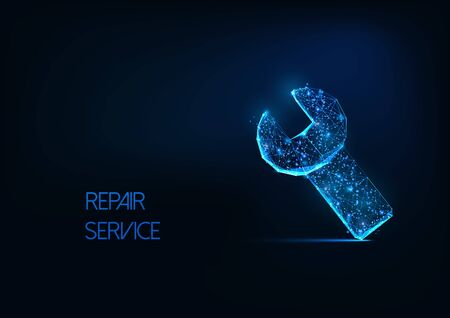 Futuristic repair service concept with glowing low polygonal wrench tool symbol