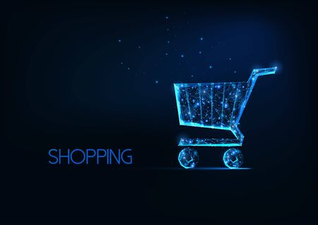 Futuristic online shopping concept with glowing low polygonal shopping cart on dark blue background. Illusztráció
