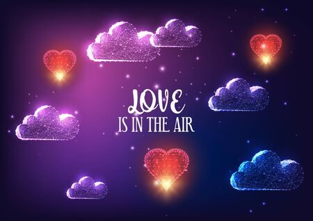 Futuristic Valentines day banner concept with glowing low polygonal clouds, red flying hearts and text Love is in the air on dark purple background. Modern wire frame mesh design vector illustration.