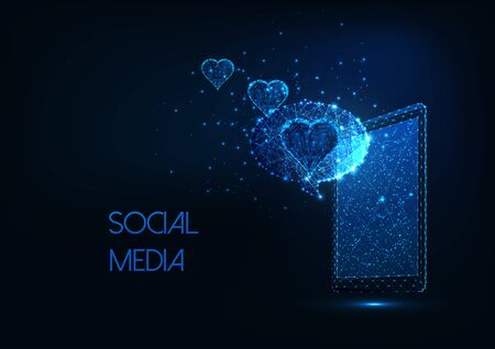 Futuristic social media concept with glowing low polygonal smartphone, message and hearts. Çizim