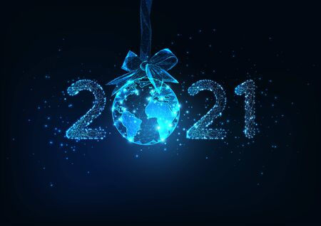 Happy New Year digital web banner template with futuristic glowing low polygonal 2021 number and planet Earth globe hanging on a ribbon bow as a decoration Christmas ball on dark blue background.