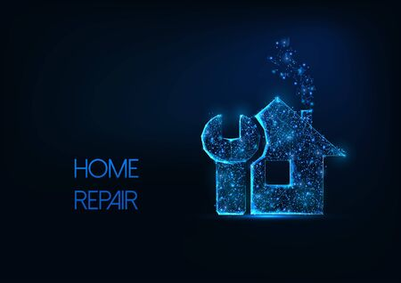Futuristic home repair concept with glowing low polygonal house and wrench on dark blue background.  イラスト・ベクター素材