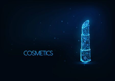 Futuristic cosmetics, make up concept with glowing low polygonal lipstick on dark blue background. Stock Illustratie