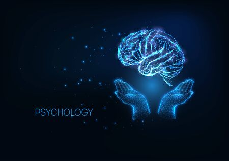 Futuristic psychology concept with glow low polygonal hands holding brain on dark blue background.