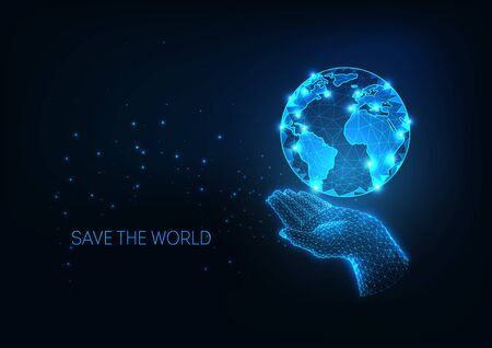 Futuristic Environment global protection concept with glowing low polygonal human hand holding planet Earth globe isolated on dark blue background. Modern wire frame mesh design vector illustration.