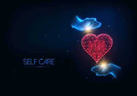 Futuristic Self Care concept with glowing low polygonal human hands hugging red heart symbol