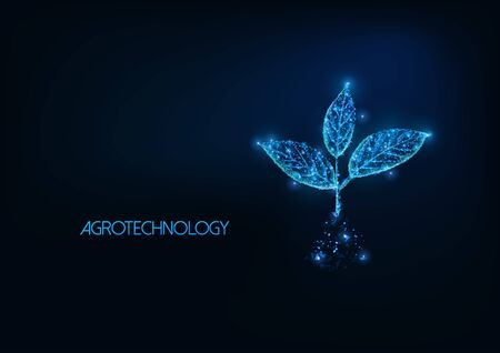 Futuristic agrotechnology, agriculture concept with glowing low polygonal plant sprout Illusztráció
