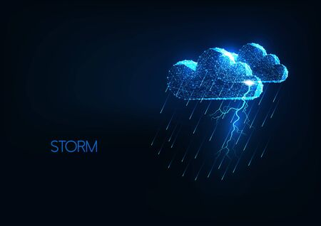 Futuristic heavy storm concept with glowing polygonal clouds, lightning and rain shower.