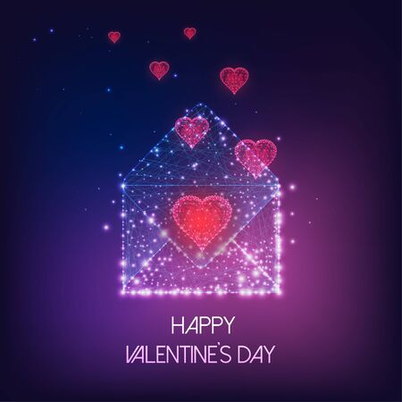 Futuristic Happy Valentines Day greeting card with glowing low polygonal envelope and red hearts