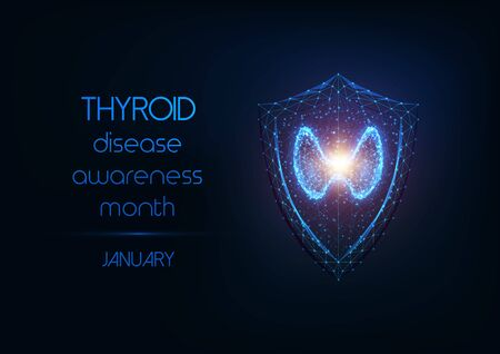Thyroid disease awareness month banner with thyroid gland and protection shield on dark blue. Vector Illustration