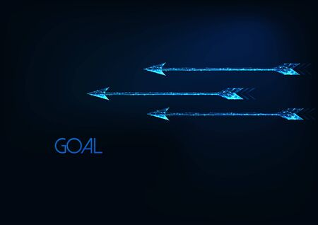 Futuristic goal concept with three glowing low polygonal moving arrows isolated on dark blue.