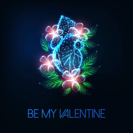 Futuristic valentines day greeting card with glow low polygonal anatomical human heart and flowers