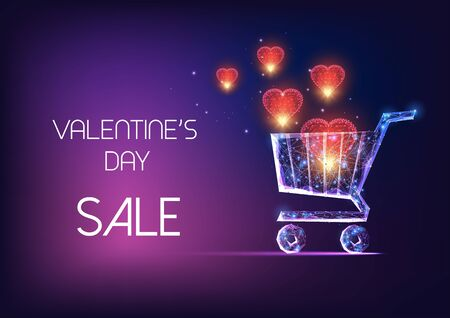 Valentines Day sale web banner with glowing low polygonal shopping cart and red flying hearts on dark blue purple background. Modern wire frame mesh design vector illustration. Illusztráció