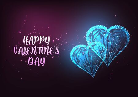 Happy Valentines Day greeting card with glowing low polygonal hearts. Illusztráció