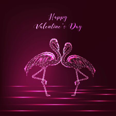 Happy Valentines day greeting card with couple of glowing low polygonal dancing flamingos on dark purple background. Modern wire frame mesh design vector illustration. Illusztráció