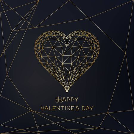 Happy Valentines Day greeting card with glowing low polygonal golden heart on black background. Modern wire frame mesh design vector illustration.