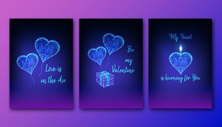 Happy Valentines Day posters set with glowing low polygonal heart balloons, gift box and candle