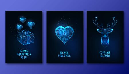 Valentines Day greeting cards set with futuristic glowing low polygonal heart, gift box, deer head and text on dark blue background. Modern wire frame mesh design vector illustration.