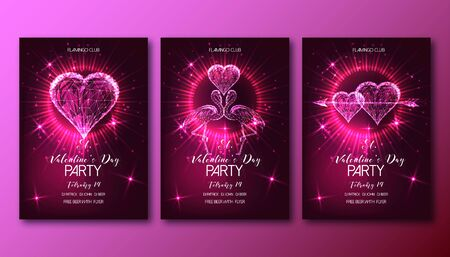 Valentines Day Party posters set with glowing low poly hearts, arrows, and flamingo couple on dark red background. Modern wire frame mesh design vector illustration.