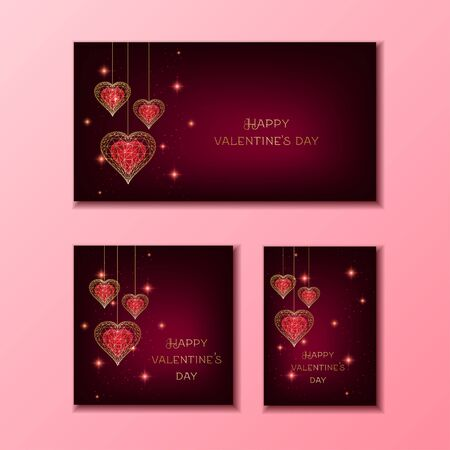 Happy Valentines Day banner set with red and golden glowing low polygonal hanging hearts and stars on dark red background. Modern wire frame mesh design vector illustration. Illusztráció