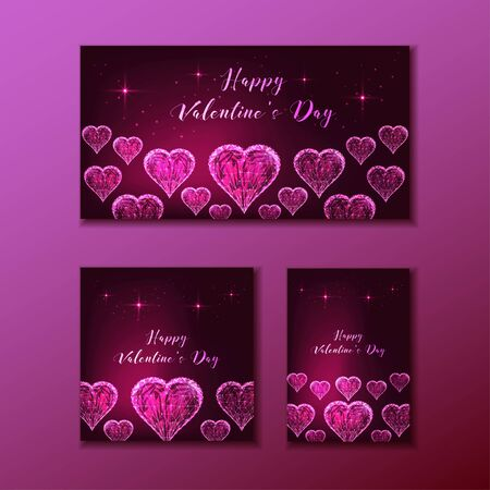 Happy Valentines Day web banners set with glowing low polygonal transparent hearts on dark pink background. Modern wire frame mesh design vector illustration. Illusztráció