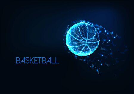 Futuristic glowing low polygonal basketball ball