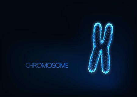 Futuristic glowing low polygonal chromosome isolated on dark blue background.