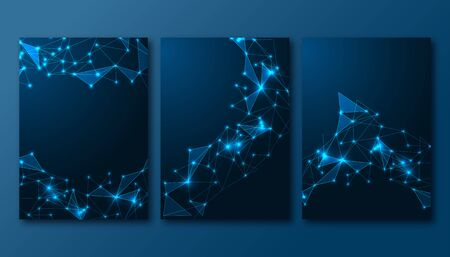 Futuristic set of posters template with abstract scientific glowing low polygonal background on dark blue. Modern wire frame mesh design vector illustration.