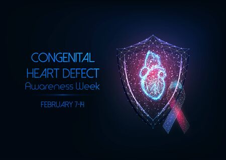 Futuristic Congenital heart defect awareness week concept with glowing low polygonal hologram of human anatomical heart, protection shield and ribbon bow on dark blue background. Vector illustration.