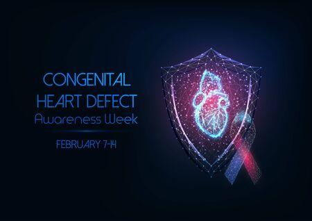 Futuristisches Konzept zur Bewusstseinswoche für angeborene Herzfehler mit leuchtendem, niedrigem polygonalem Hologramm des menschlichen anatomischen Herzens, Schutzschild und Bandschleife auf dunkelblauem Hintergrund. Vektor-Illustration.
