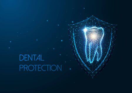 Futuristic dental protection concept with glowing low polygonal molar tooth and protective shield