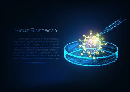 Futuristic Virus research concept with glowing low polygonal virus cell, dropper and Petri dish isolated on dark blue background. Microbiology, immunology. Modern wire frame mesh design vector image.