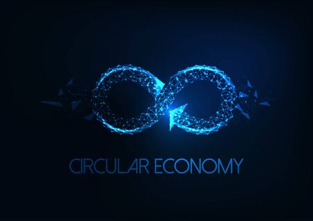 Futuristic circular economy concept with glowing low polygonal infinity sign isolated on dark blue background. Modern wire frame mesh design vector illustration.