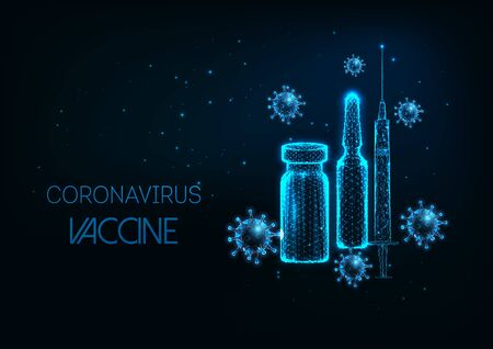 Futuristic Coronavirus Covid-19 vaccine concept with glowing low poly ampule, syringe and virus cell Vetores