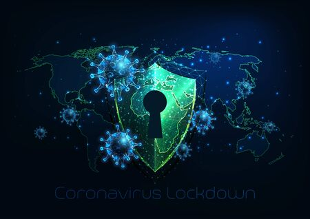 Futuristic covid-19 coronavirus global lockdown, quarantine concept Vectores