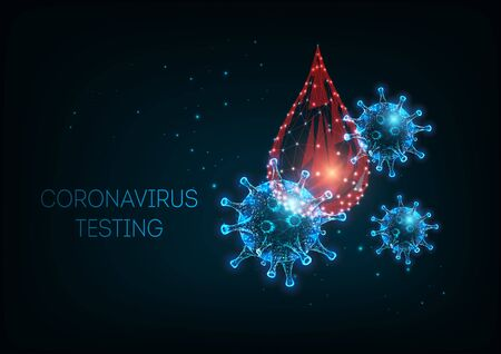 Futuristic covid-19 coronavirus diagnostic concept with glowing low poly virus cells and blood test