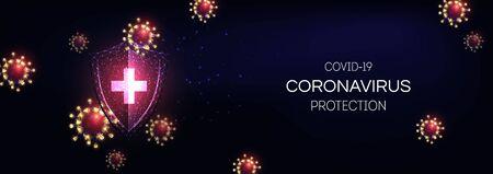 Futuristic immune system protection from coronavirus Covid-19 disease concept Ilustração Vetorial