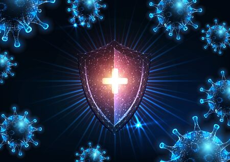 Futuristic immune system protection from infectious coronavirus covid-19 disease with glowing low polygonal shield and virus cells on dark blue background. Modern wire frame mesh design vector image