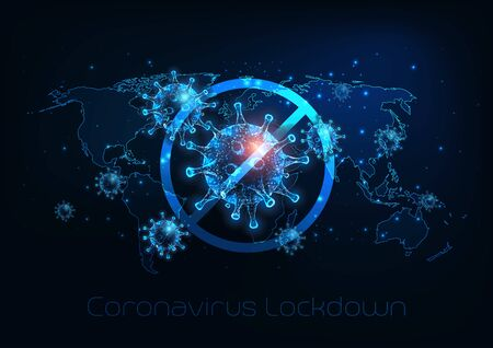Futuristic global lockdown due to coronavirus COVID-19 disease with glowing low polygonal virus cells, padlock and world map on dark blue background. Modern wire frame mesh design vector illustration. Vettoriali