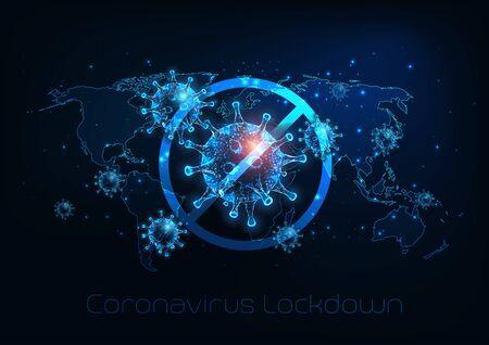 Futuristic global lockdown due to coronavirus COVID-19 disease with glowing low polygonal virus cells, padlock and world map on dark blue background. Modern wire frame mesh design vector illustration. Vektorgrafik