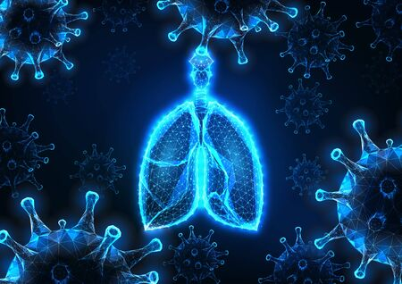 Futuristic covid-19 coronavirus caused viral pneumonia banner with glowing human lungs and viruses